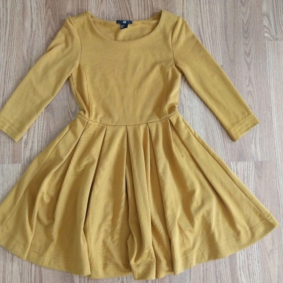 H M Yellow A-Line Fit   Flare Dress 3 4 Sleeves 02a45f505